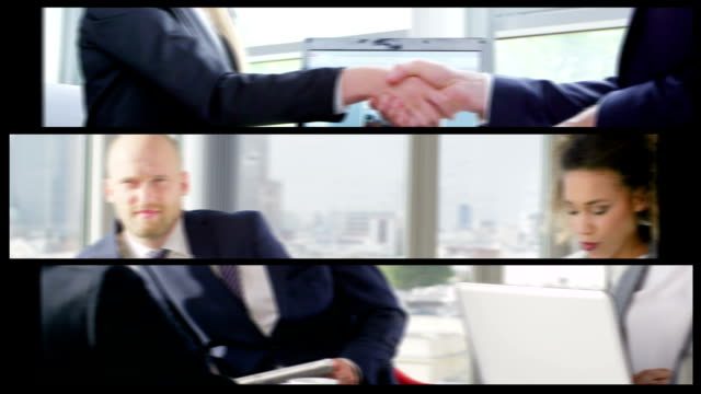 Business Team. Split Screen video
