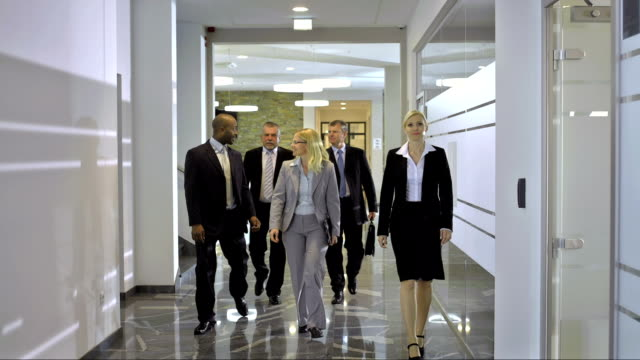 DS LS Business Team Walking Down The Corridor video