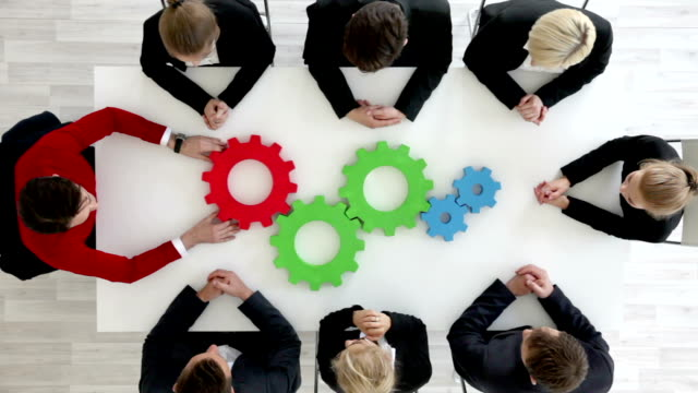 Business team with cogs video