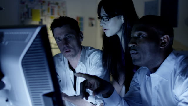 Business team working in the evening video