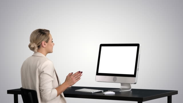 Business video call, businesswoman having videoconference on gradient background