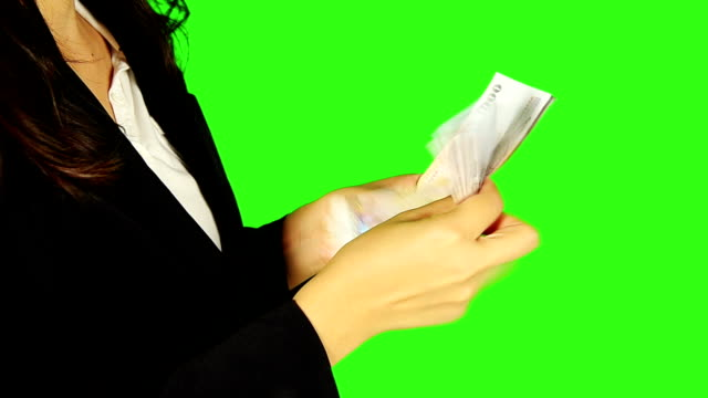 Business Woman Counts Money With Green Screen Background