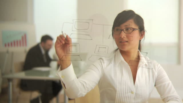 Business woman drawing diagram video