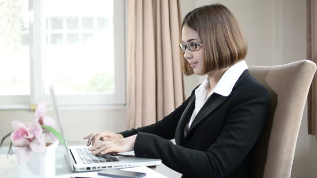 Business woman happy in work video