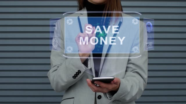 Business woman interacts HUD hologram Save money