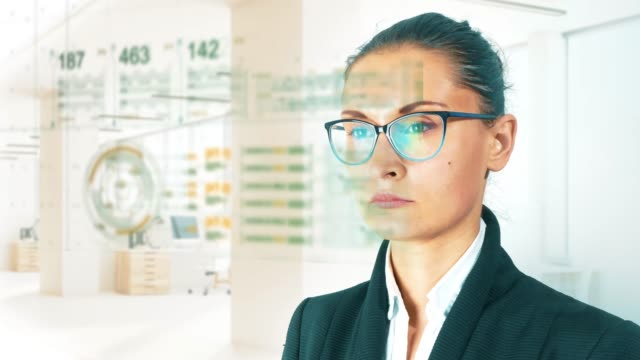 vídeos de stock e filmes b-roll de business woman on hud and graph bar futuristic concept technology element on light background - business woman hologram