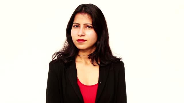 business woman on white background - sfondo bianco video stock e b–roll