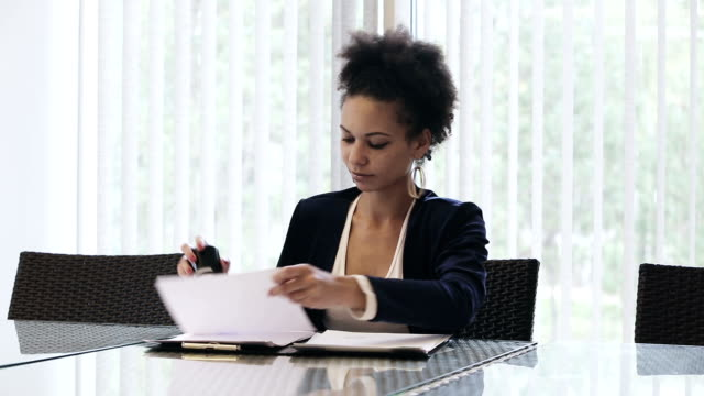 Business woman puts a seal on the contract video