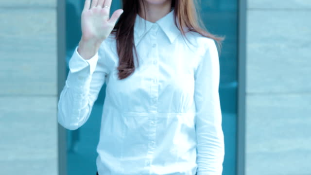 business woman shows gesture STOP video