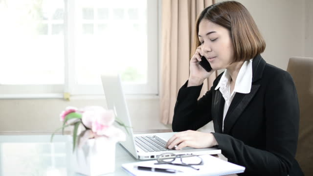 Business woman working video