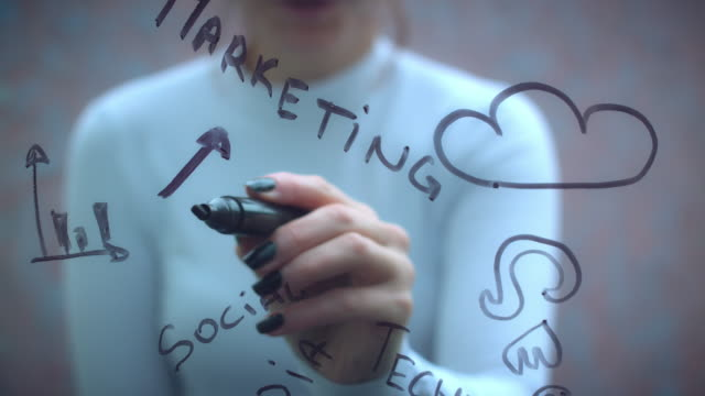 4K Business Woman Writing on Transparent Screen Marketing video