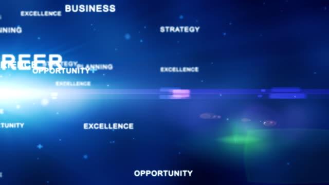 Business words flying, loop video
