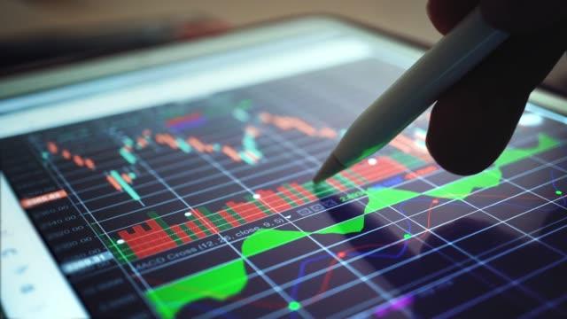 businessman analyzing at graph of stock market data,close-up - azioni e partecipazioni video stock e b–roll