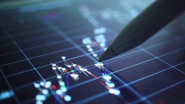 stockvideo's en b-roll-footage met zakenman analyseren op grafiek van stock market data, close-up - bedrijfsstrategie