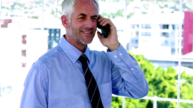 Businessman answering his phone and looking impressed video
