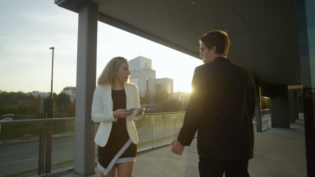 LENS FLARE: Businessman argues with woman after colliding with her at sunset.