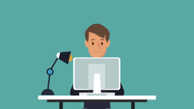 Zakenman aan office cartoon HD animatie​ video