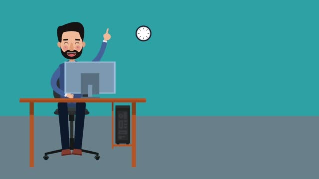 Businessman at office HD animation Businessman at office with computer for hours High Definition colorful animation scenes office illustrations videos stock videos & royalty-free footage