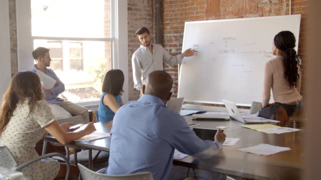 Businessman At Whiteboard In Office Giving Presentation – Video