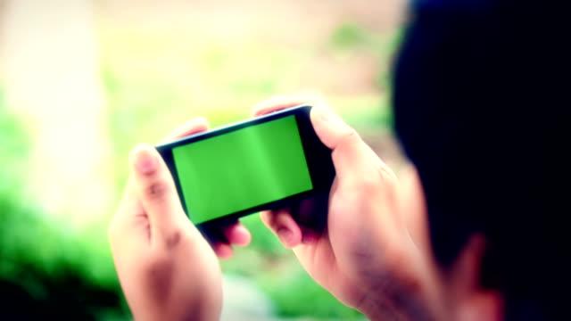 Businessman blank smartphone video