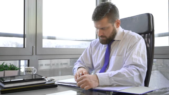 Businessman browsing document, data, in ring binder looking at camera, office video
