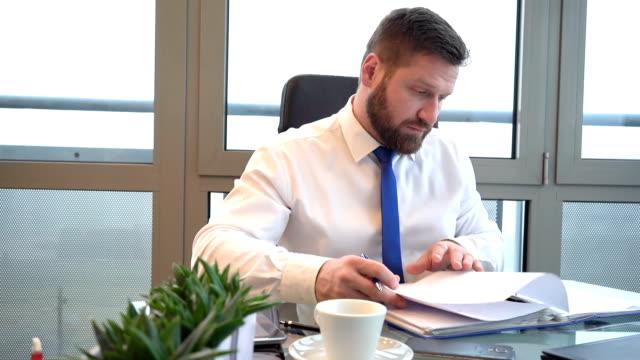 Businessman browsing documents, making notes, ring binder, office, slider shot video