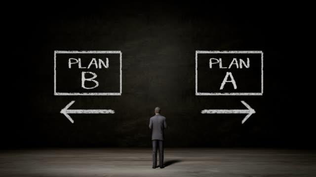 Businessman choose Plan A or Plan B.makes decision. video