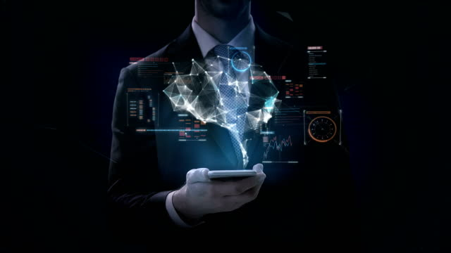 Businessman clicks smartphone, Brain connect digital lines with digital interface. grow artificial intelligence. 4k movie.