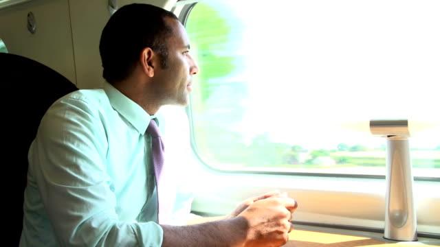Homme d'affaires se rendant sur Train E livre de lecture - Vidéo