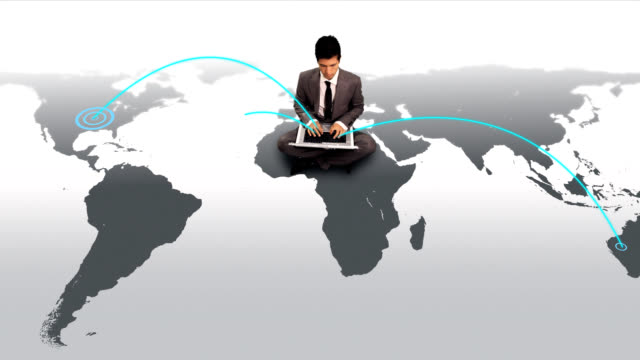 Businessman coneccting to the world video
