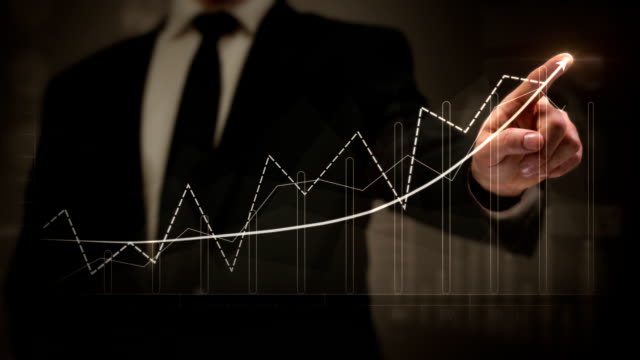 uomo d'affari disegno un grafico crescente finanziario. il touchscreen. business success.white-blu. - guadagnare soldi video stock e b–roll