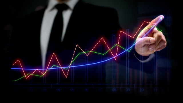 Businessman drawing an ascending financial chart. Touchscreen. Business success. Multicolored-blue. video