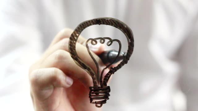 businessman drawing lamp video