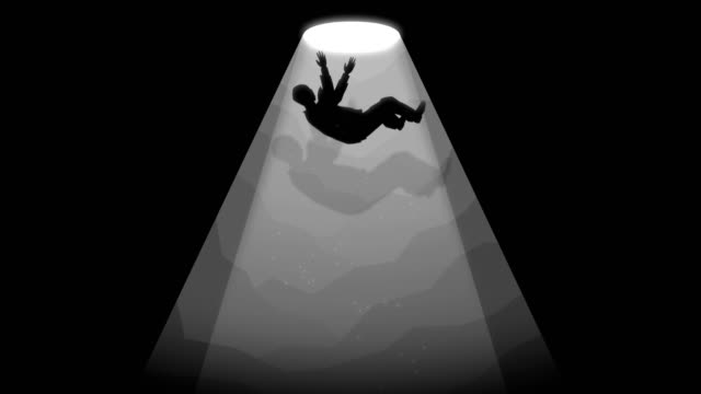 Businessman falls down into a hole concept animation