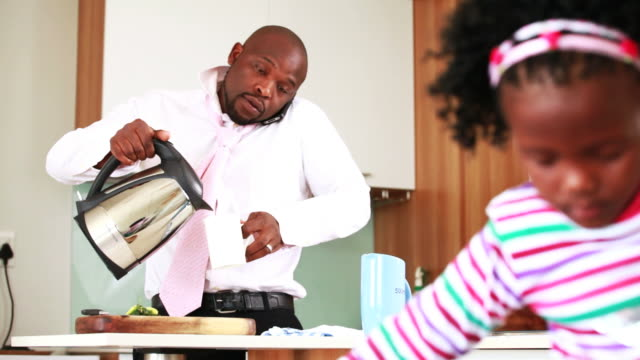 Businessman gets ready for work video