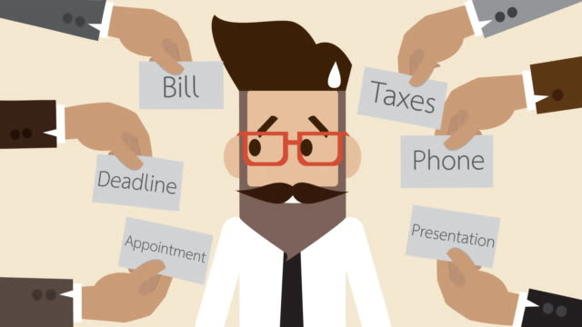 Businessman getting confused with many works to do  (Business concept cartoon)
