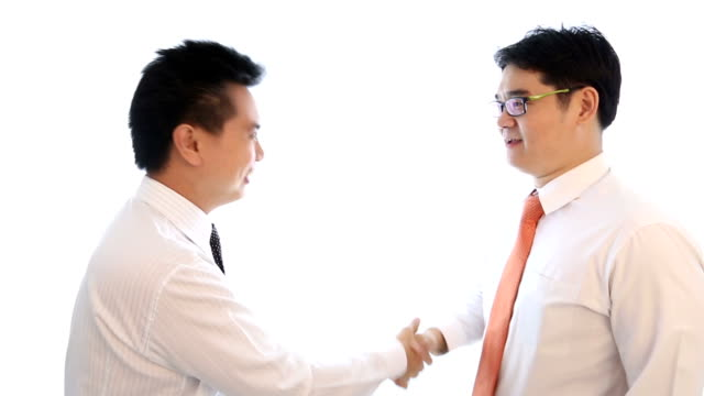 Businessman greeting with business card video