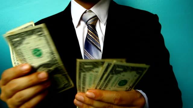 businessman hand hold money video