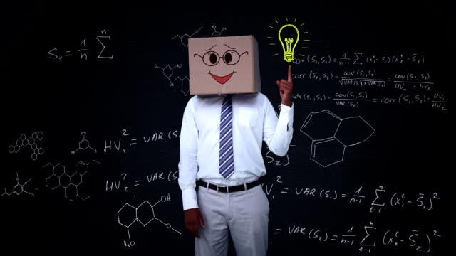businessman hiding head with happy box and pointing light bulb - människohuvud bildbanksvideor och videomaterial från bakom kulisserna