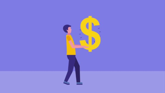 businessman holding dollar sign and falling banknote money businessman holding dollar sign and falling banknote money animation hd giving stock videos & royalty-free footage