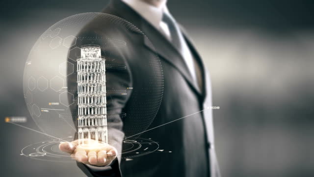 businessman holding in hand landmark leaning tower of pisa new technologies - palm of hand stock videos & royalty-free footage