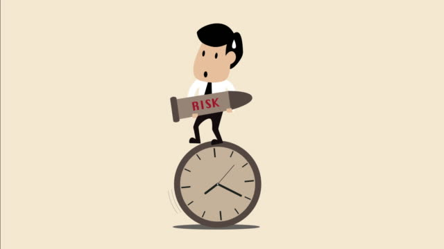 Businessman holding risk bomb standing on unstable clock (Business concept cartoon)