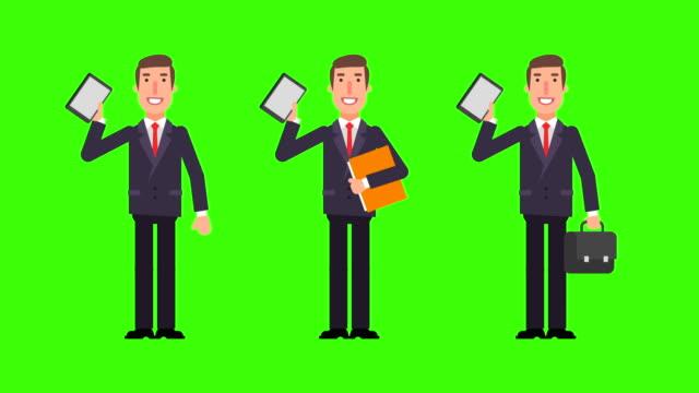 businessman holding tablet folder and suitcase. green background. - характеры стоковые видео и кадры b-roll