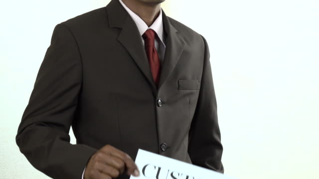 Businessman holding white card with Customer sign
