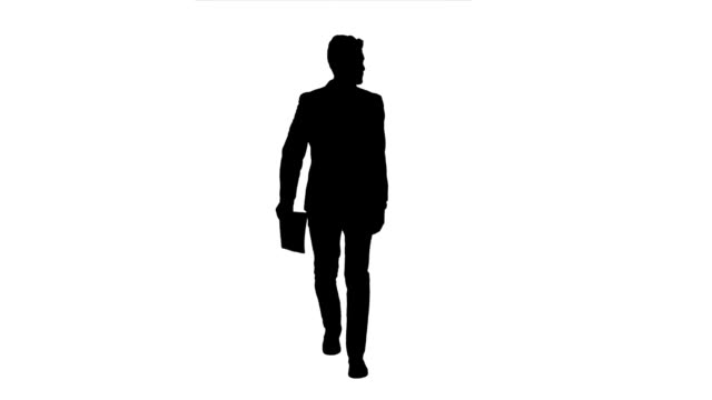 Businessman holds the documents in his hands and throws it away. White background. Silhouette video