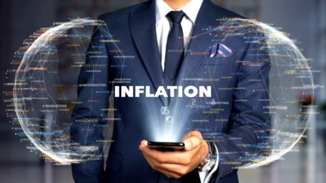 geschäftsmann hologramm concept economics-inflation - inflation stock-videos und b-roll-filmmaterial