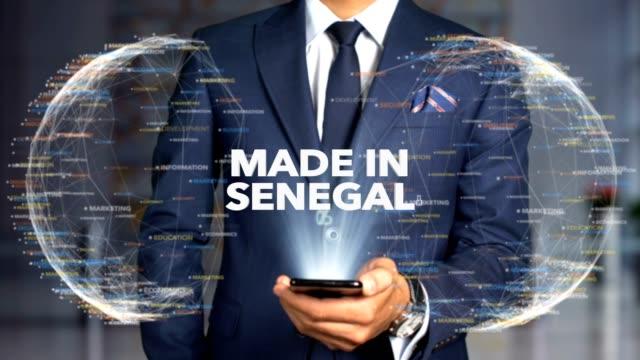businessman hologram concept made in - made in senegal - senegal video stock e b–roll