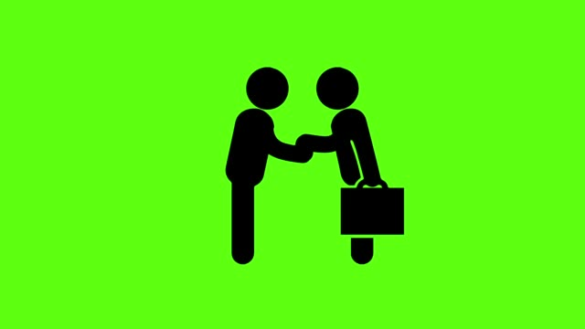 businessman icon with handshake for business success on green screen background - contratto video stock e b–roll