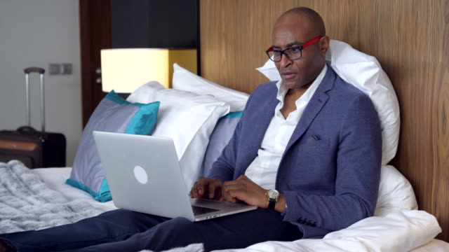 Businessman in Hotel Room video