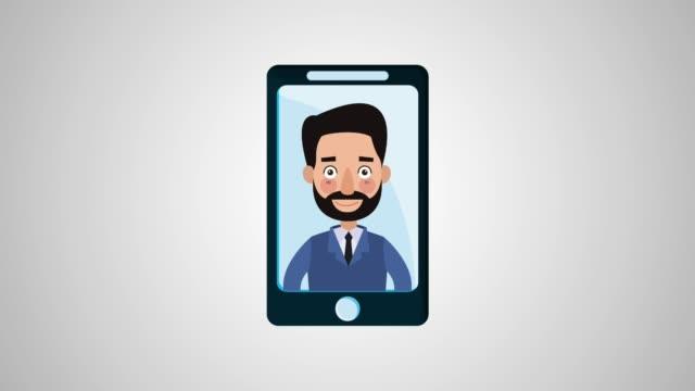 businessman in smartphone hd animation - comparsa video stock e b–roll